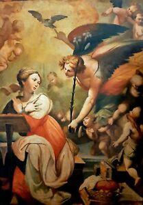 Antico Dipinto Olio su tela '800 - Annunciazione Angelo Vergine Maria -  108x77