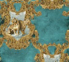 A.S. Hermitage 10 33543-5 Vlies Tapete Barock Ornamente Leopard blau braun