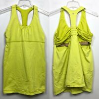 Lululemon 2 In 1 Sports Bra With Tank Top Yellow Green Athletic Womens Size 12