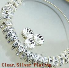 100Pcs Silver Plated Czech Crystal Rhinestone Glass Round Loose Spacer Beads 8mm