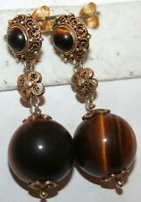 ANTIQUE DECO 40mm LONG SILVER GOLD PL TIGER EYE FILIGREE CHINESE DANGLE EARRING