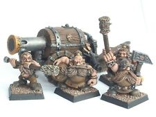 GW WARHAMMER DWARF FLAME CANNON & CREW. PAINTED. RED 528