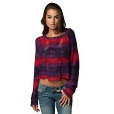 Fox Glimmer Crop LS Sweater Women's Size XS Red and Purple Striped D35 $65 NWT