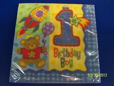 Hugs & Stitches Boy Blue First 1st Birthday Party Paper Luncheon Napkins