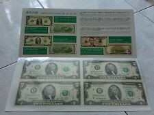 USA UNCUT 2x2 TWO DOLLARS US$2 banknote with double folder (UNC), #1
