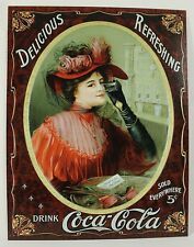 COCA-COLA VICTORIAN WOMAN METAL SIGN Coke Soda Lady NEW Vintage Repro Tin Advert