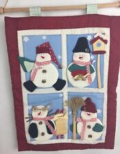 Snowman Christmas Appliqué Hanging Padded Embroidered Wooden Buttons h