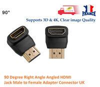90 degrés angle droit HDMI mâle vers câble connecteur femelle adaptateur
