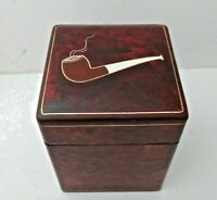 Vintage Leather Tobacco Humidor Hinged Box Italy, Embossed with Pipe & Gold Trim