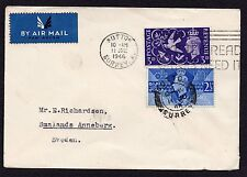 KGVI Air Mail  First Day Cover Sutton Surrey to Smalands Anneberg Sweden 1946