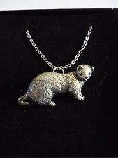 "Ferret codea39 Made from Fine English Pewter On 16"" Silver Plated Curb Necklace"