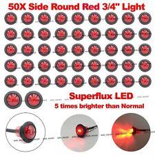 "50X Mini 12V Red 3/4"" Round Side Truck Trailer LED Marker Bullet License Lights"
