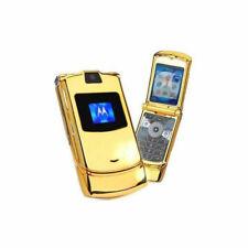 Motorola Razr V3 Refurbished GSM Unlocked Cellular Phone Flip Mobile Phone Gold