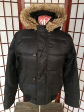 Diesel Puffer Down Jacket for Women Size Small Faux Fur Collar