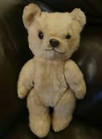"""Antique Jointed Bear 10"""" Glass eyed,Straw filled, black nose &Mohair A/F Steiff?"""