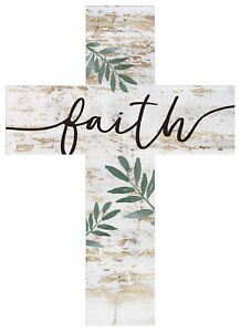 Faith Script Greenery Whitewash 5 x 7 Solid Pine Wood Wall Hanging Cross