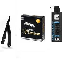 Elegance Plus Barber Razor Shaving Shave Gel Earth Blue 16.9oz + razor & blade