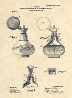 Official Perfume Bottle US Patent Art Print - Vintage 1900- Antique Original 459