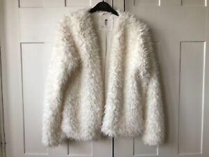 Girls H&M white fluffy faux fur coat jacket 14 yrs + wedding party