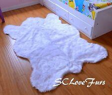 "84"" x 58"" Medium True White Polar Bearskin Faux Fur Shaggy Area Rug Home Decors"