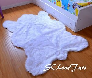 4' x 6' Snow White Bearskin Faux Fur Rug Kids Rug