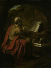 """oil painting """"the saint hieronymus sitting in a cave, reading a book""""@NO9062"""