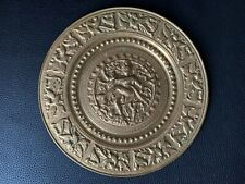 More details for vintage round copper brass metal plaque wall art plate depicting balinese dancer