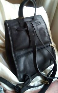 Coach Vintage Black Leather Mini Backpack~ Draw Leather ~ Gold Turn closure 9791