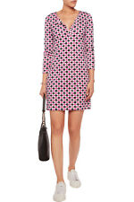 DIANE VON FURSTENBERG DVF Reina Check Dot Pink Dress Size 0 NWT $348