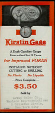 Kirstin Dash Gasoline Gage For Fords 1920's Rare Vintage Orig Dealer Brochure