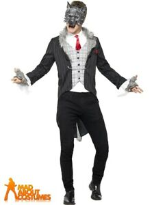 Mens Deluxe Big Bad Wolf Costume Werewolf Fairytale Halloween Fancy Dress Outfit