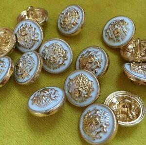 Wappenknopf 10 st..Weiss.Gold.Lion.Knöpfe.Buttons.Goldknopf.LÖWE.Lionhead.Wappen