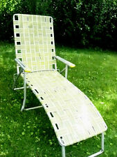 Vintage Aluminum Webbed Lawn Lounge Chair Camp Rv Camping Chaise