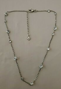 "SILPADA RARE Sterling Silver 925 ""RAINDROP"" Cubic Zirconia CZ Necklace"