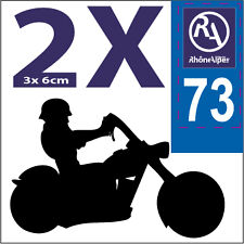 2 stickers style plaque immatriculation moto Département RHONE ALPES RA 73