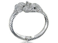 Women Fashion Jewelry Chic Silver Crystal Rhinestone Elephant Bangle Bracelet
