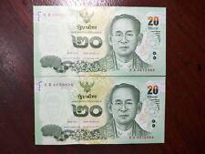 Thailand Banknote money 2x20 baht of King Rama9 5 P 4772964-65