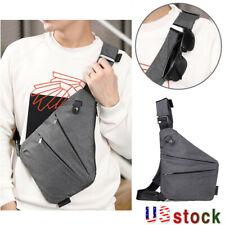 Men's Sling Chest Pack Business Canvas Crossbody Anti Theft Travel Shoulder Bag