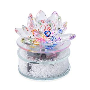 Crystal Rotating Lotus with Solar Base Collectible Figurines Desk Showpiece