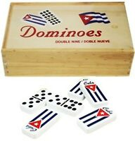 Beautifulm Double Nine Dominoesb Set with Flag Cuban and Case Wood