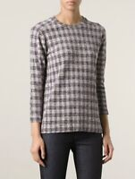 VICTORIA BECKHAM Denim Checked Boucle Sweatsirt Top UK 10 US 6 F 38 I 42 S / M