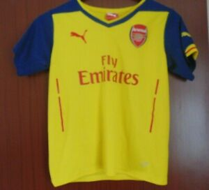Arsenal FC Yellow Away Shirt 2014-2015 Kids Size 30/32 LB Worldwide Post!