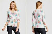 Merona Women's Cardigan Anyday Pineapple Print 3/4 Sleeve Sweater