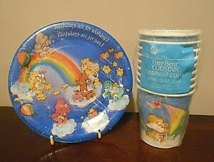VINTAGE CARE BEAR BIRTHDAY PARTY SUPPPLIES PLATES & CUPS mixed NEW SEALED