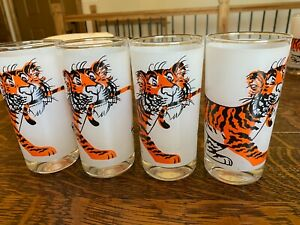 """Vintage Set of 4 ESSO Gas """"Tiger in Your Tank"""" glasses- Frosted style"""
