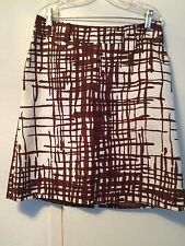MILLY BROWN/WHITE COTTON BLEND  SKIRT   SIZE 4   EX/CON