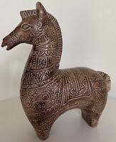 Vintage 60s Decorative Brown Ceramic Horse Sculpture Figurine Mid Century Modern