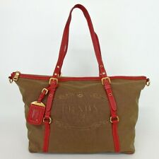 Authentic PRADA Triangle with logo Tote Bag canvas/leather[Used]