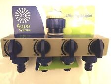 New High Quality 4-WAY Garden Tap Adaptor Splitter. Includes 4 Hose Connectors