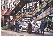 "BEST 1917 WWI Herald Square Newsstand 6th Av. ""el"" New York NYC Modern Post Card"